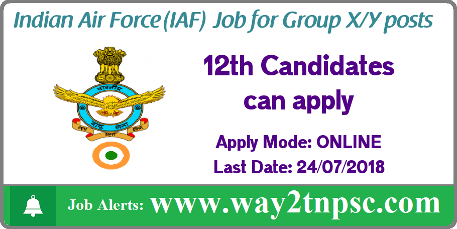 Indian Airforce Recruitment for Group X/Y posts
