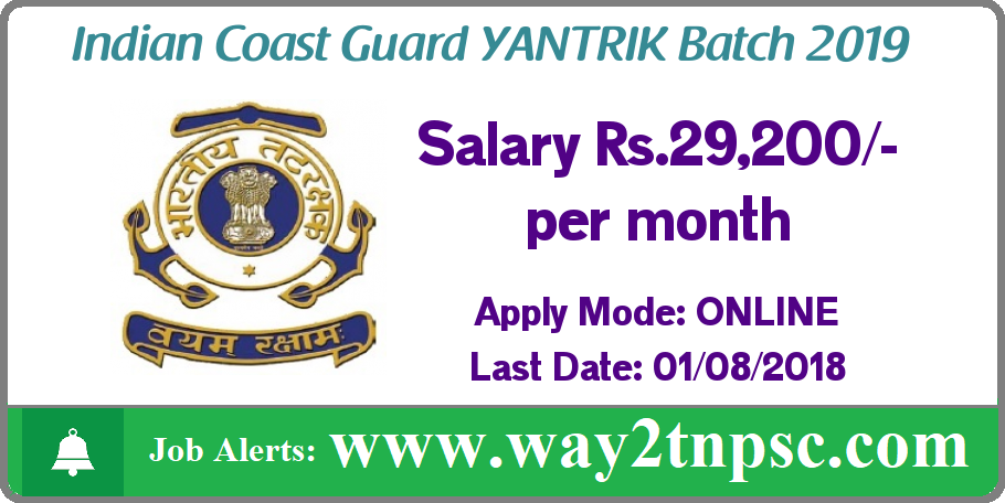 Indian Coast Guard Recruitment 2018 for Yantrik 01/2019 Batch posts
