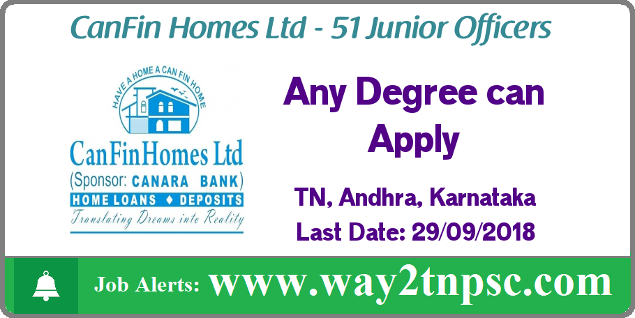 Can Fin Homes Bank Recruitment 2018 for 51 Junior Officers in Madurai, Hosur, Vellore, Tiruchengode, Erode, Trichy